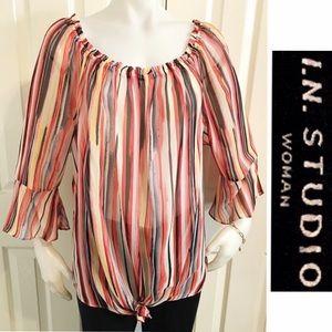 NWOT I.N. STUDIO Semi Sheer Loose Fit Blouse/Shirt